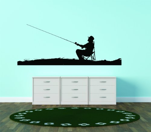 Fisherman - Silhouette - Picture Art - Peel & Stick Vinyl Wall Decal Sticker 20x40 - Inches - As Seen - Deer 243