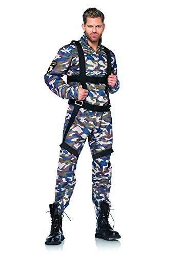 Army Men Costume - Leg Avenue Men's 2 Piece Paratrooper Costume, Camo, Large