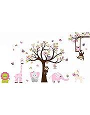 sdtdia Mooie dierentuin muursticker met aap spelen op boomtak met zebra, leeuw, olifant giraffe en uil Nursery muursticker