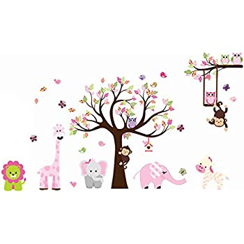 Jungle Zoo Animal Girafee, Elephant, Lion, Zebra And Monkey Having Party On  Tree
