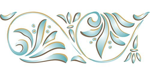 "(ART NOUVEAU STENCIL BORDER - (size 18.5""w x 6.5""h) Reusable Wall Stencils for Painting - Best Quality NEW ART Ideas - Use on Walls, Floors, Fabrics, Glass, Wood, Terracotta, and More…)"