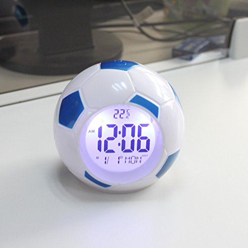 Xiaolanwelc@ Digital Backlight Temperature Display Sounds Control Football Soccer Clock LED Alarm Clock Repeating Snooze Clock (blue) by Xiaolanwelc