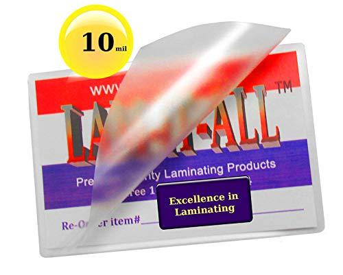 Lam Laminator - 10 Mil Key Card Laminating Pouches 2-1/2 X 3-7/8 Laminator Sleeves [Pk of 100] by LAM-IT-ALL