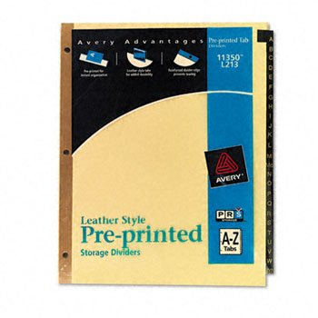 Avery 11350 Black Leather Tab Dividers, A-Z Tabs, 8.5 x 11, Buff, 25 Tabs/Set