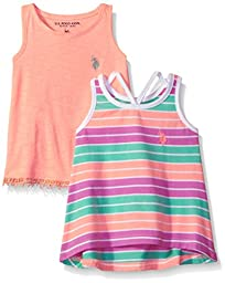 U.S. Polo Assn. Toddler Girls\' 2 Pack Tank Tops, 1 Stripe and 1 Solid, Multi, 4T