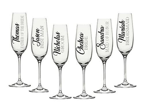 Amazon Com Wedding Party Champagne Flute Decals
