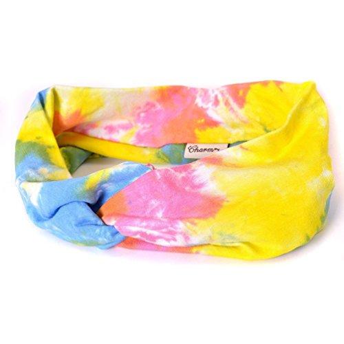 - Casualbox Charm Elastic Head Cover Band Tie-Dye Viscose Bandana Stretch Hairband Boho Hippie Unisex D