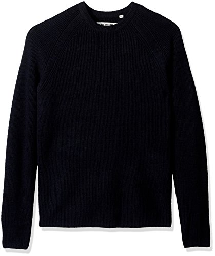 Ben Sherman Men's Crew Neck Sweater with Contrast Tipping, Blue/Black, XX-Large