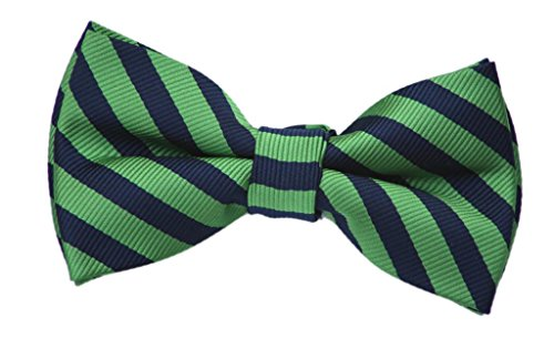 (Born to Love - Boys Kids Pre Tied Adjustable Bowtie Christmas Holiday Party Dress Up Navy and Green Stripe Bow Tie)