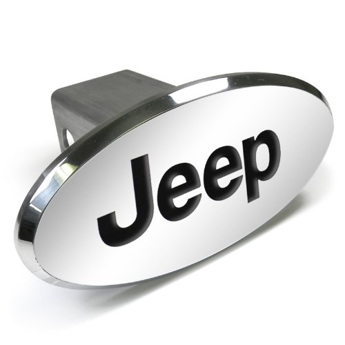 (CarBeyondStore Jeep Engraved Oval Chrome Aluminum Tow Hitch Cover)