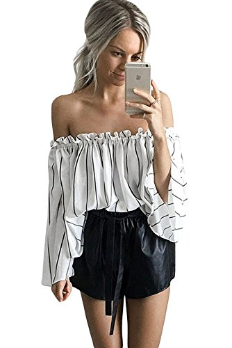 O&W Women Black Stripes Print Ruffled Off Shoulder Bell Sleeve Top S