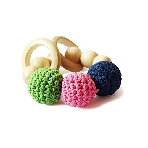 Shumee Organic Soft Crochet Beads Wooden Rattle Rings, Saliva-Proof Chew Toy & Teether for Babies - 100% Safe, Natural & Eco-Friendly Montessori Toy (0-1 Year)