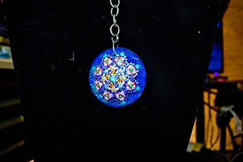 Large Glass hand painted keychain with wooden back light ()