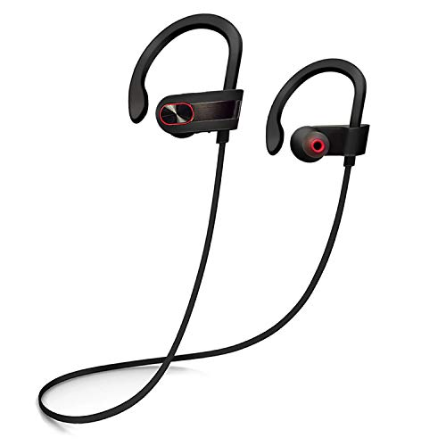 Wireless Bluetooth Headphones, Siretek IPX7 Waterproof Sport Earphones with Mic Noise Cancelling Premium in Ear Earbuds for Running Gym Workout HD Stereo Powerful Bass (Black Metallic)