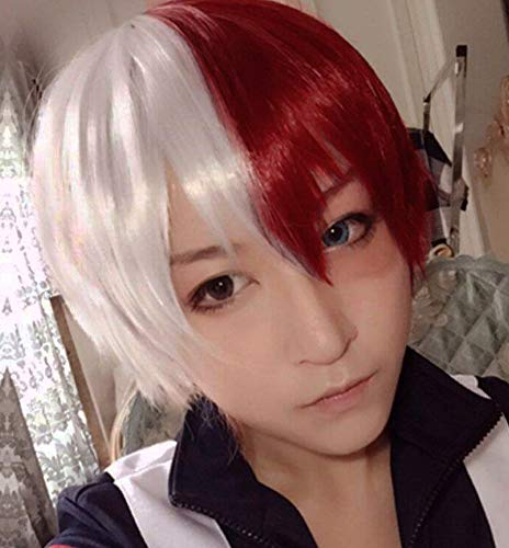 Anogol Hair Cap + Short Red Cosplay Wig Silver White Ombre Wigs Synthetic Hair Fancy -
