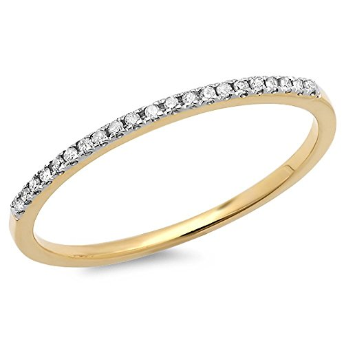 0.08 Carat (ctw) 10k Yellow Gold Round White Diamond Ladies Dainty Anniversary Wedding Band Stackable Ring (Size 9)