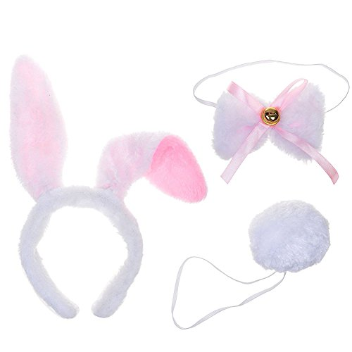 Mwfus Women Girls Rabbit Bunny Ears Headband Hairbands Tail Bow Tie Cosplay Set -