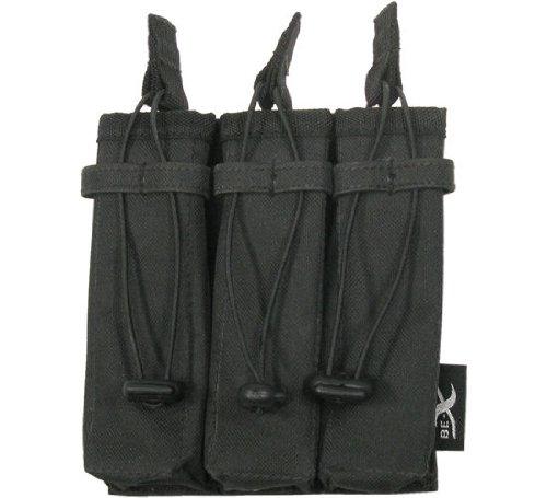BE-X Offene Magazintasche für CQB, für MOLLE, für drei MP5 Magazine - schwarz