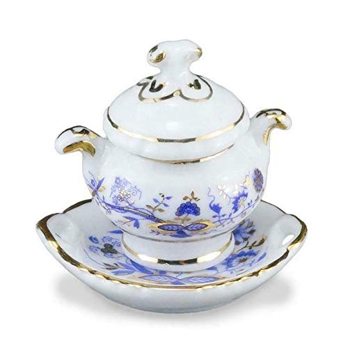 (DOLLHOUSE Blue Onion Soup Tureen 1.397/5 Reutter Miniature)