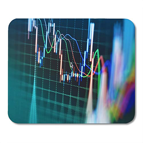 Emvency Mouse Pads Red Trade Stock Market Graph and Bar Chart Price Mouse Pad for notebooks, Desktop Computers mats 9.5