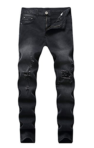 FEESON Men's Vintage Black Washed Skinny Distressed Slim Fit Stretch Denim Jeans W36 ()