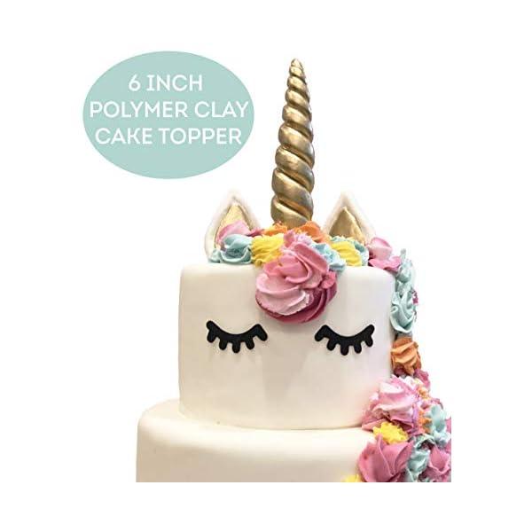 LIMITLESS - Decoración para tarta de unicornio, hecha a mano, 5 piezas (juego incluye: 1 cuerno, 2 orejas y 2 pestañas). Decoración de fiesta de unicornio para fiesta de cumpleaños, boda y baby shower.