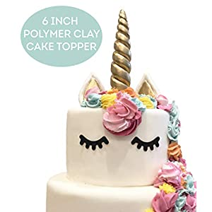 LIMITLESS Unicorn Cake Topper Handmade 5 Piece Set (Set Includes: 1 Horn, 2 Ears, and 2 Eyelashes). Unicorn party…