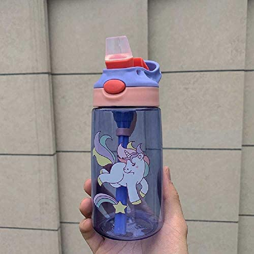 TUOLUO Kinder Wasser Tasse Kreative Cartoon Baby Stroh Mit Stroh Anti-Leck-Wasser Tasse Im Freien Tragbare Kinder Wasser Tasse 480 ml/Blau