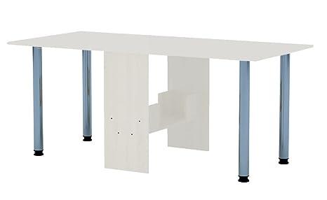Tisch Klappbar.Rodnik Esstisch 174 X 80 X75 Ausklappbar Weiß Klapptisch Tisch Klappbar Bürotisch Funktionstisch Beistelltisch