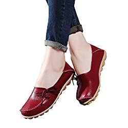 Women's Leather Loafers Shoes Wild Driving Casual Flats Burgundy 7
