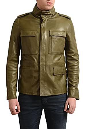 valentino mens army green 100 leather full zip jacket