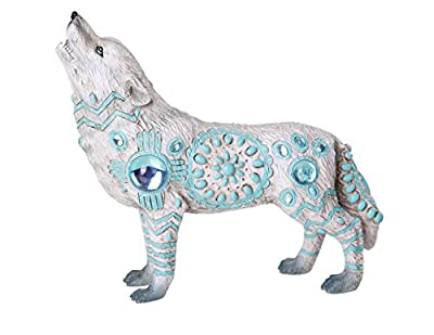 The Wolf Spirit Collection Indian Turquoise Sky Stone Wolf Spirit Collectible Figurine