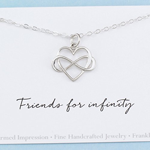 Friends for Infinity • Sterling Silver • Best Friend Jewelry • Long Distance BFF • Miss You • Heart Charm Necklace • Sentimental Friendship Gift