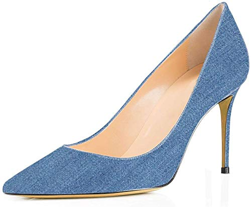 Ayercony Pumps for Woman, Kitten Heel Pumps Slip on high Heel Pointed Toe Shoes for Dress Office Light Blue Denim Size 11 US