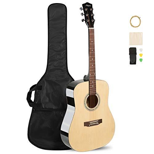 ARTALL 41 Inch Handmade Solid Wood Acoustic Dreadnought Guitar Beginner Kit with Gig Bag, Strings, Picks, Strap, Glossy Black