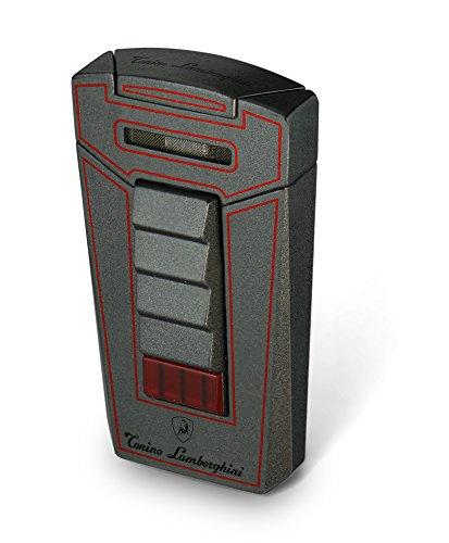 Tonino Lamborghini Aero Metallic Gray with Red Lines Torch Flame Cigar Lighter
