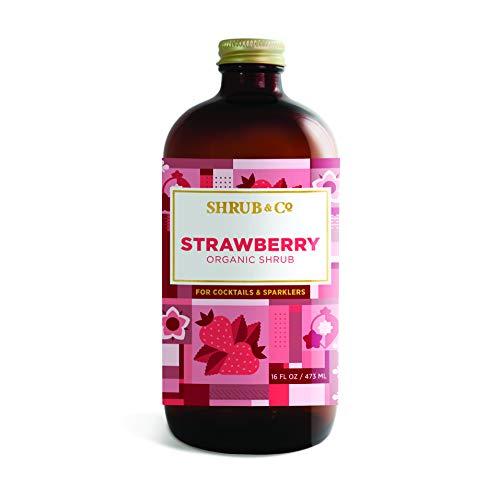 Shrub & Co Organic Strawberry Shrub - Fruit-Driven Mixers for Cocktails, Sparklers, and Club Sodas, 16 fl. oz.