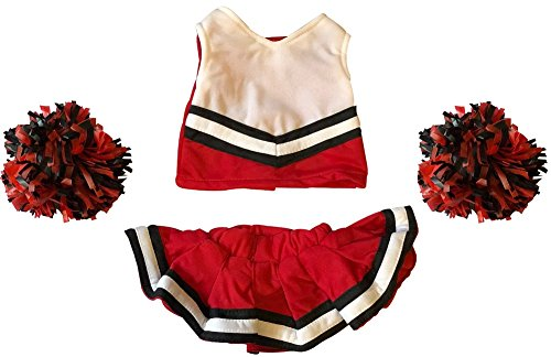 Cheerleader Outfit Teddy Bear Clothes Fit 15 inch Build-A-Bear, Vermont Teddy Bears, American Girl Doll and Make Your Own Stuffed Animals (Red And (Cheerleader Clothes)