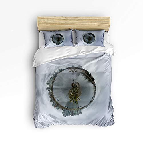 KAROLA Duvet Cover Set, 3 Piece Hotel Luxury Hypoallergenic Microfiber Down Comforter Quilt Bedding Cover with Zipper, Ties,Vancouver Canada City Landscape Full(86