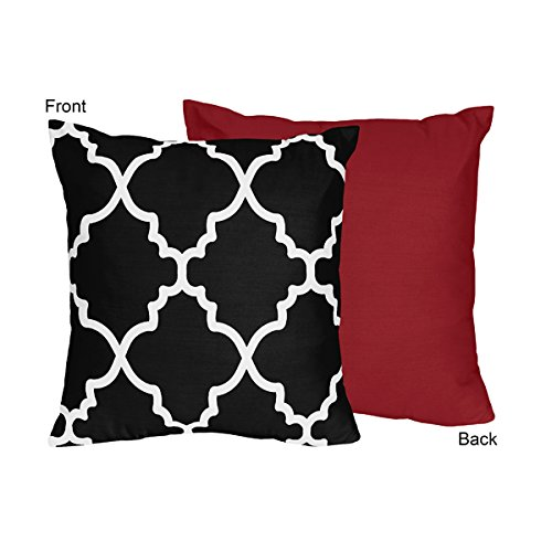 Red and Black Trellis Decorative Accent Throw Pillow by Swee