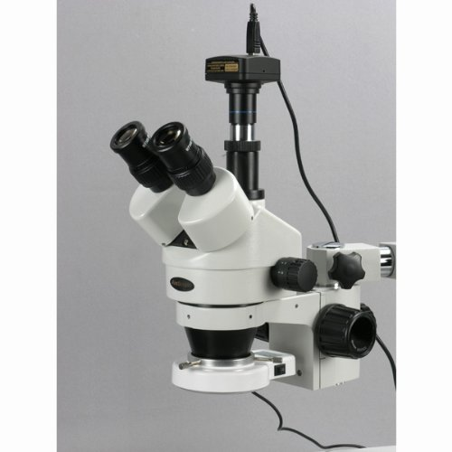 AmScope SM-3TZ-54S-3M Digital Professional Trinocular Stereo Zoom Microscope, WH10x Eyepieces, 3.5X-90X Magnification, 0.7X-4.5X Zoom Objective, 54-Bulb LED Light, Single-Arm Boom Stand, 110V-240V, Includes 0.5X and 2.0X Barlow Lenses and 3MP Camera with Reduction Lens and Software