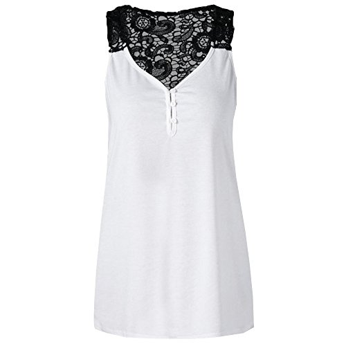 Lace Tank Top for Women,LYN Star✨ Ladies Sexy Sleeveless Tank Top Casual Sleeveless T-Shirt Vest Summer Top Bodysuit White