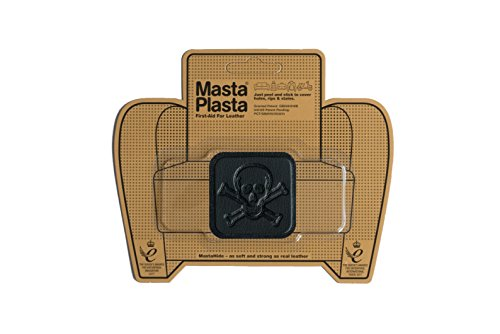 MastaPlasta Self-Adhesive Patch for Leather and Vinyl Repair, Pirate, Black - 2 x 2 Inch - Multiple Colors Available