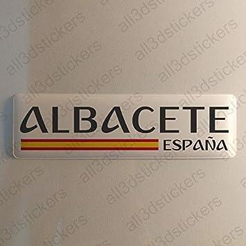 Pegatina Albacete España Resina, Pegatina Relieve 3D Bandera Albacete España 120x30mm Adhesivo Vinilo: Amazon.es: Coche y moto