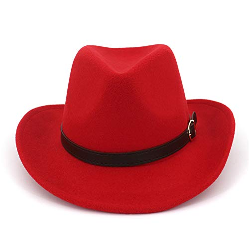 Lisianthus Men & Women's Felt Gambler Cowboy Hat with Buckle Band Red