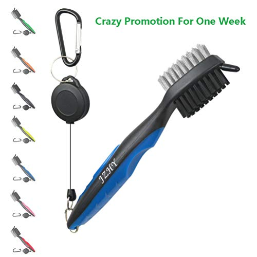 JZHY Golf Club Brush and Club Groove Sharpener Cleaner Tool Set with 2 Ft Retractable Zip-line and Carabiner, Great Golf Gift, A Must Have Kit for Golf Club Bag Accessories