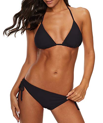 American Trends Women's String Two Piece Halter Top Triangle Bikini Set with Tie Side Bottom Sexy Swimsuit Bathing Suits Black M