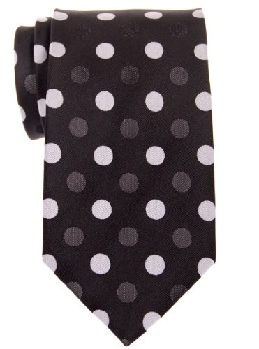 Retreez Two-Color Polka Dots Woven Microfiber Men's Tie - Black with Black and Grey Polka Dots (Dots Tie Woven Polka)