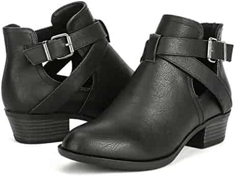 3b9b8a18ab256 TESENMA Ankle Boots for Women, Chelsea Boot,Low Chunky Heels Comfortable  Work Booties