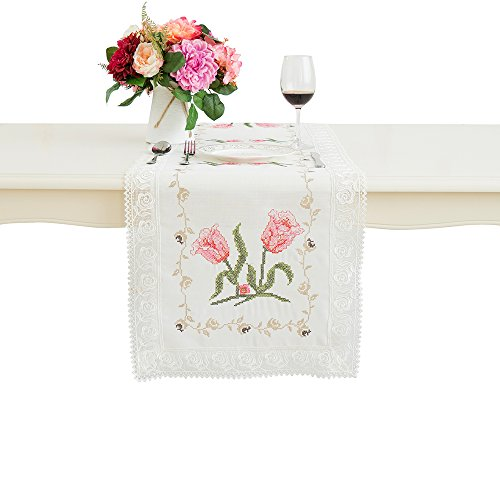 (Just-Enjoy Lace Avery White Color Table Runner Table Cover Drawnwork Needlecrafts Cross-Stitch 16x36